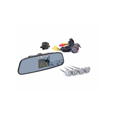 Зеркало заднего вида с TFT 3,5 монитором+камера +4 датчика 20mm TFT738SC4 SIL
