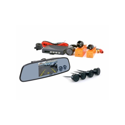 Зеркало заднего вида с TFT 4,3 монитором+камера+4 датчика 20 мм TFT748SC4 BLAСK